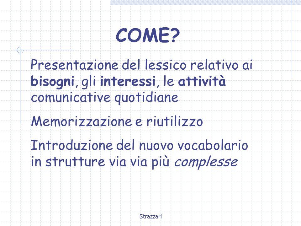 COME Presentazione del lessico relativo ai bisogni, gli interessi, le attività comunicative quotidiane.