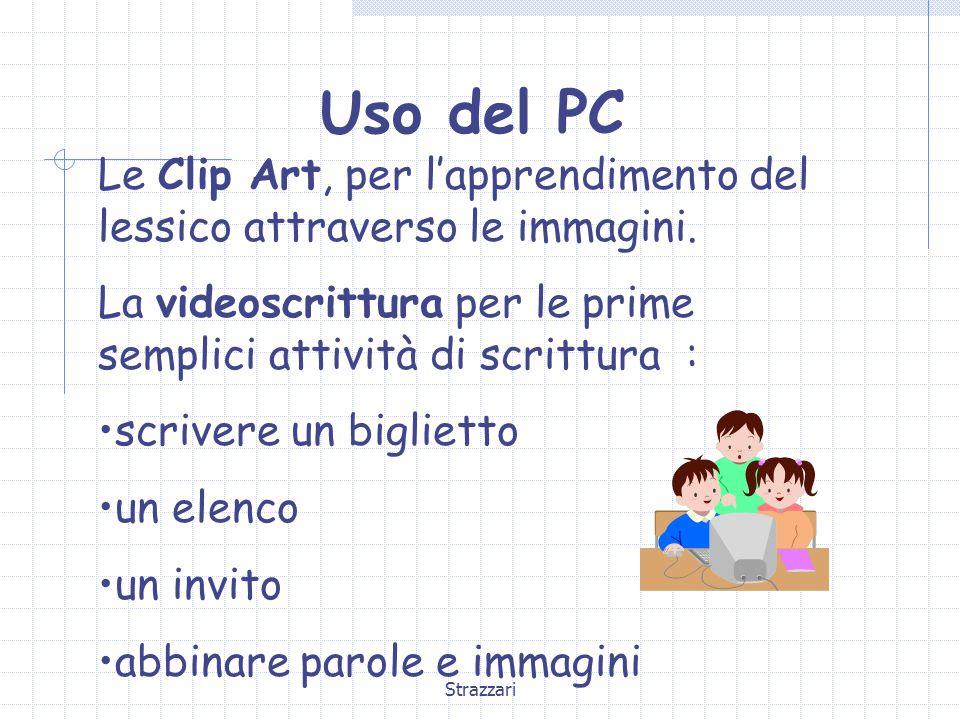 Uso del PC Le Clip Art, per l'apprendimento del lessico attraverso le immagini. La videoscrittura per le prime semplici attività di scrittura :