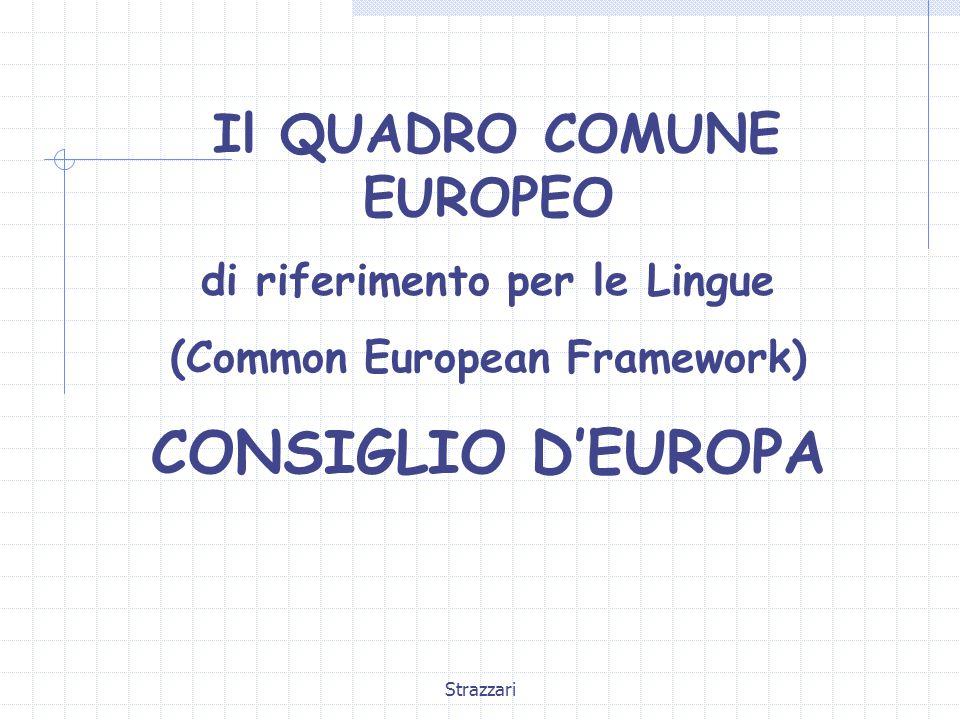 CONSIGLIO D'EUROPA Il QUADRO COMUNE EUROPEO