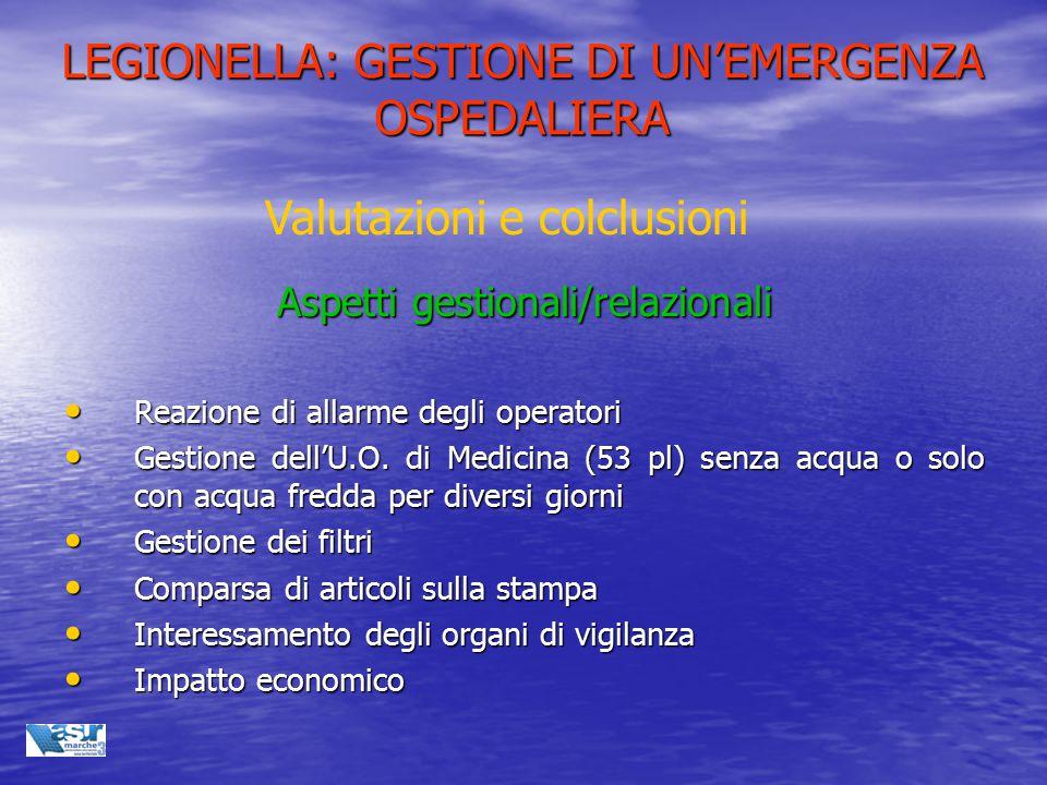 LEGIONELLA: GESTIONE DI UN'EMERGENZA OSPEDALIERA