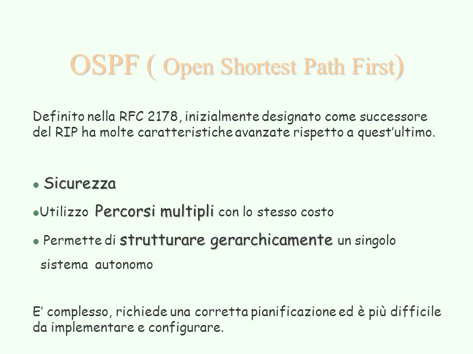 OSPF ( Open Shortest Path First)
