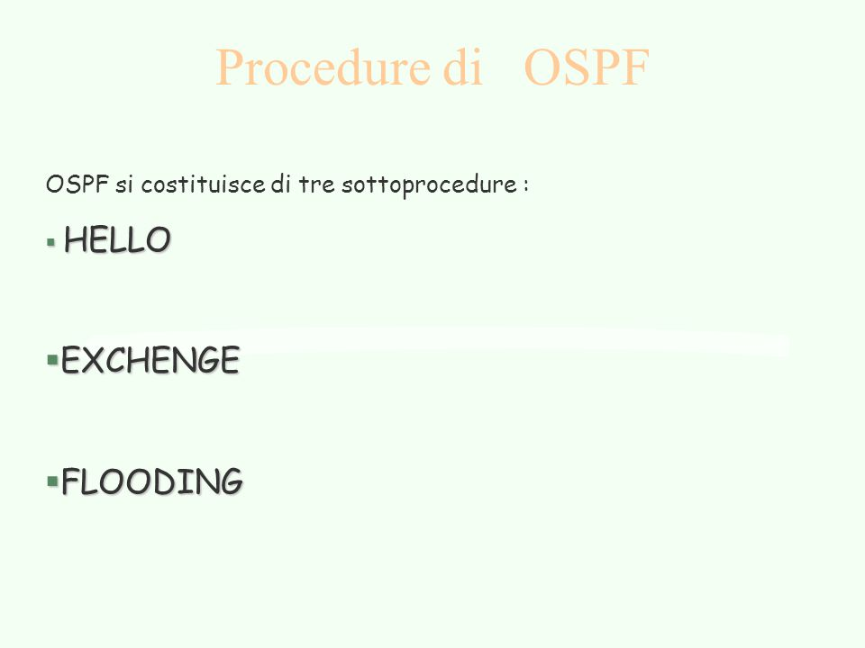 Procedure di OSPF EXCHENGE FLOODING