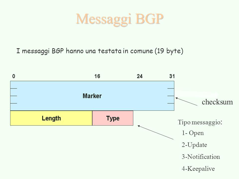 Messaggi BGP I messaggi BGP hanno una testata in comune (19 byte) checksum. Tipo messaggio: 1- Open.