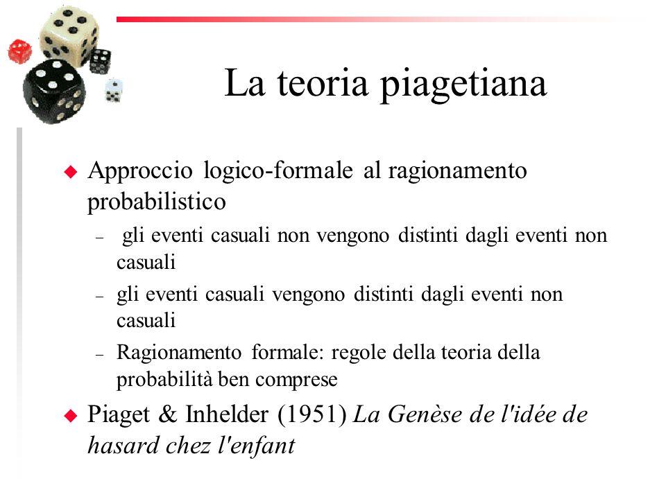 La teoria piagetiana Approccio logico-formale al ragionamento probabilistico. gli eventi casuali non vengono distinti dagli eventi non casuali.