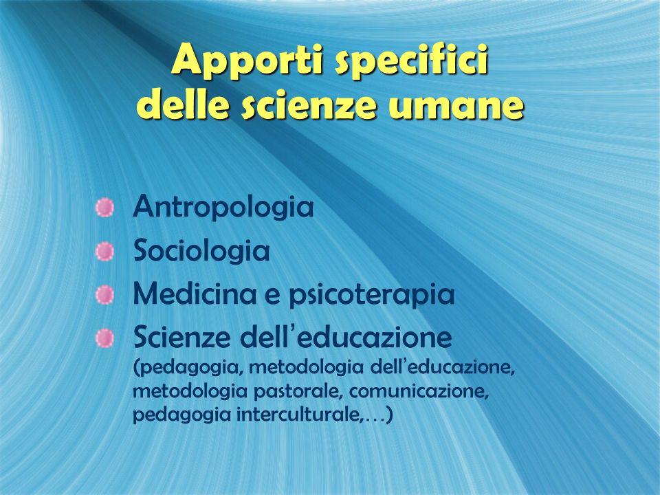 Apporti specifici delle scienze umane