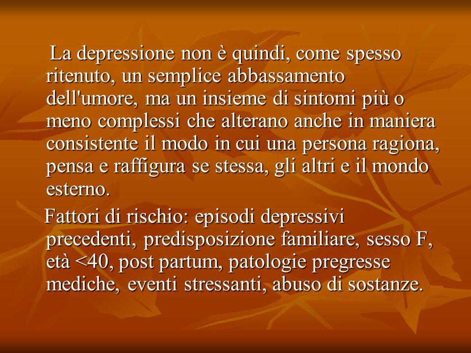 La depressione non è quindi, come spesso ritenuto, un semplice abbassamento dell umore, ma un insieme di sintomi più o meno complessi che alterano anche in maniera consistente il modo in cui una persona ragiona, pensa e raffigura se stessa, gli altri e il mondo esterno.