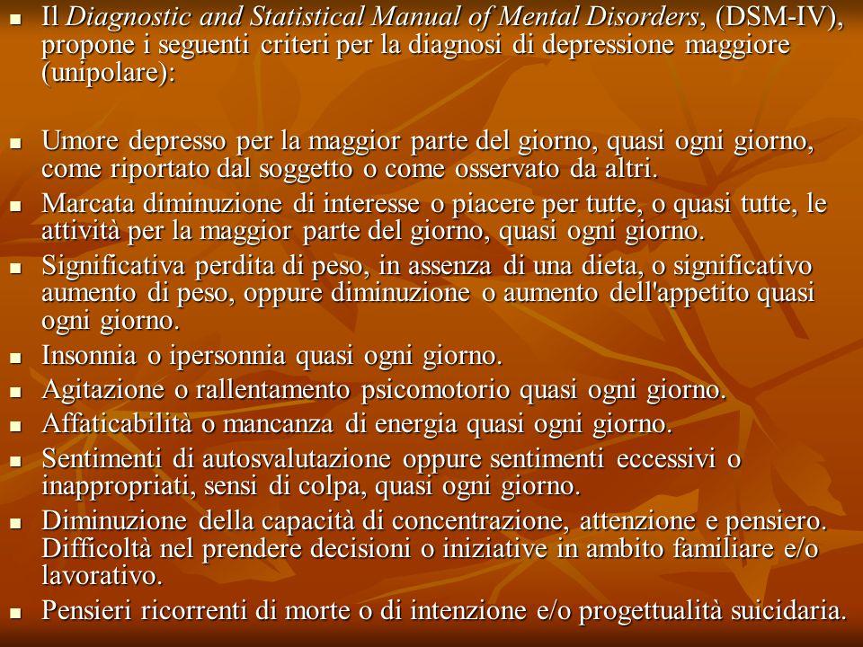 Il Diagnostic and Statistical Manual of Mental Disorders, (DSM-IV), propone i seguenti criteri per la diagnosi di depressione maggiore (unipolare):