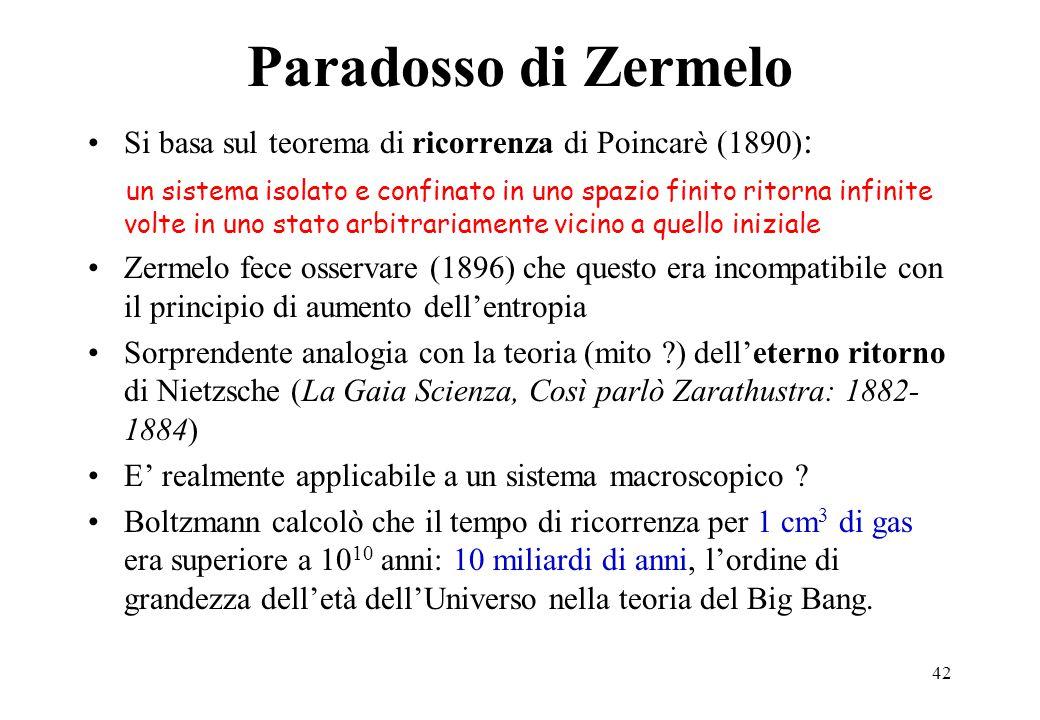 Paradosso di Zermelo Si basa sul teorema di ricorrenza di Poincarè (1890):