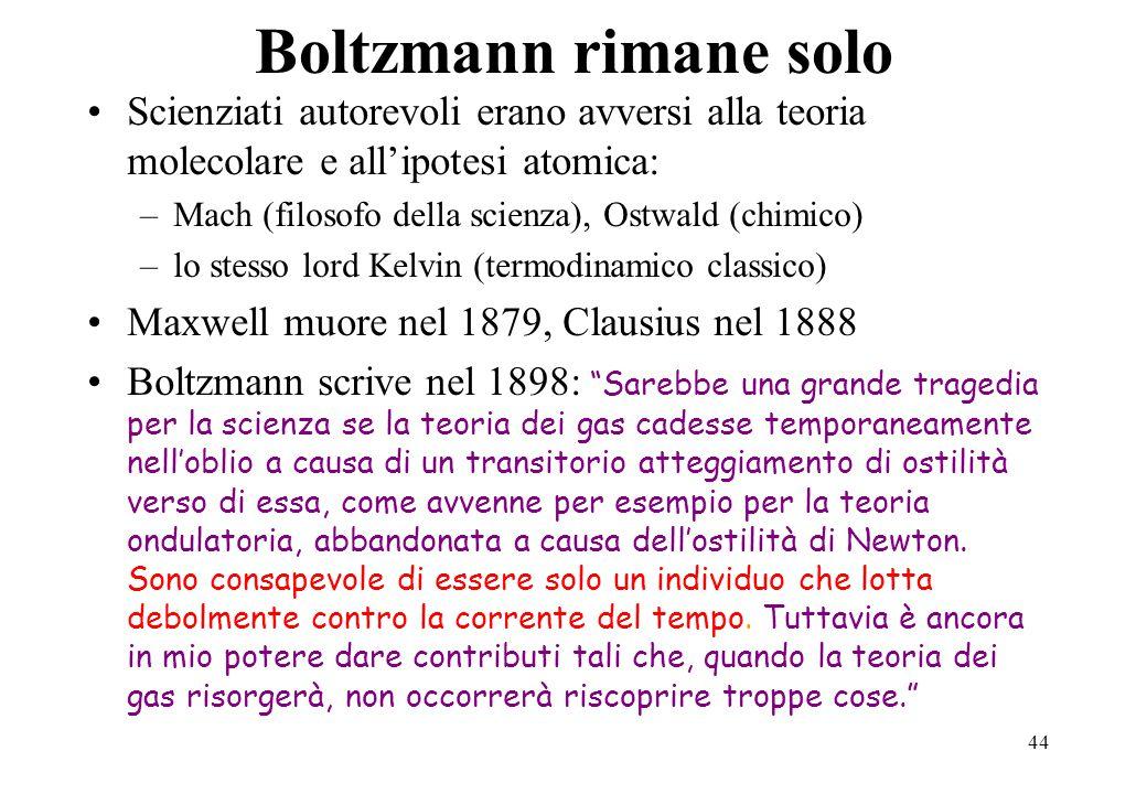 Boltzmann rimane solo Scienziati autorevoli erano avversi alla teoria molecolare e all'ipotesi atomica: