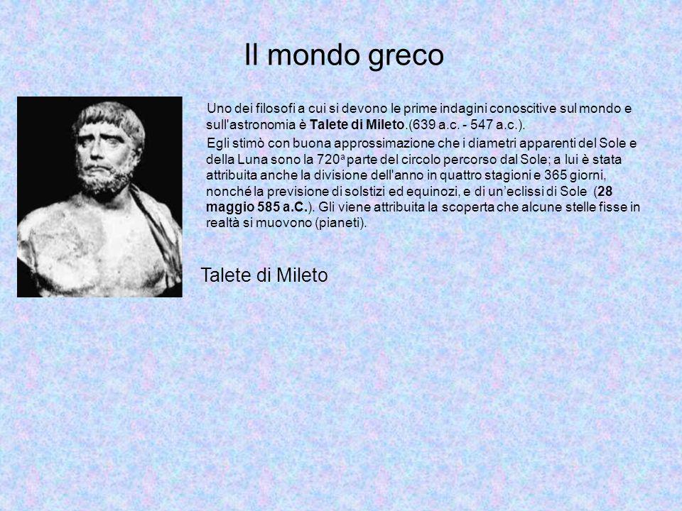 Il mondo greco Talete di Mileto