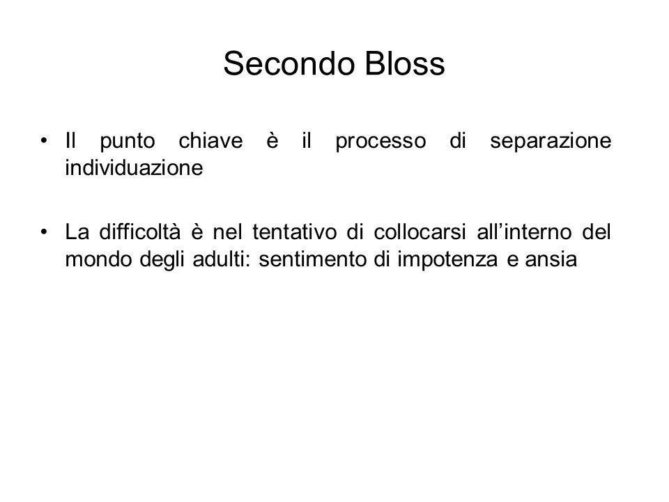 Secondo Bloss Il punto chiave è il processo di separazione individuazione.