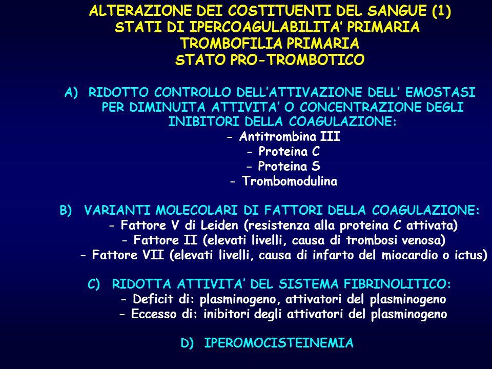 ALTERAZIONE DEI COSTITUENTI DEL SANGUE (1)