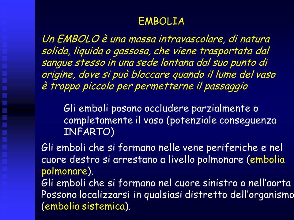 EMBOLIA Un EMBOLO è una massa intravascolare, di natura. solida, liquida o gassosa, che viene trasportata dal.