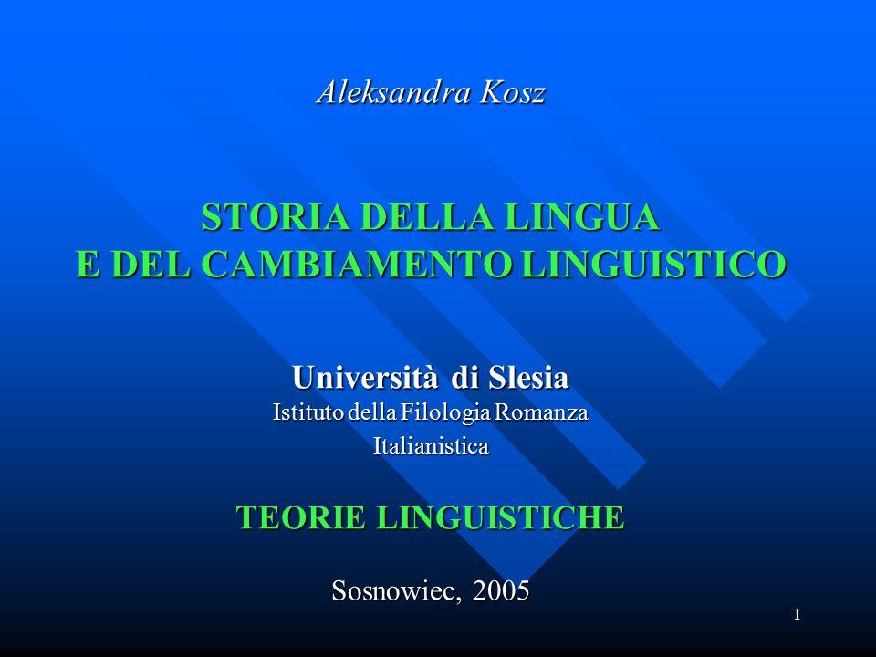 Aleksandra Kosz STORIA DELLA LINGUA E DEL CAMBIAMENTO LINGUISTICO Università di Slesia Istituto della Filologia Romanza Italianistica TEORIE LINGUISTICHE Sosnowiec, 2005