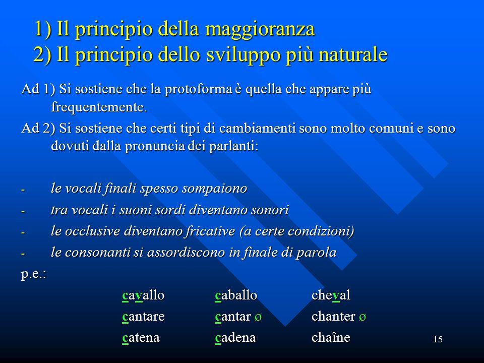 1) Il principio della maggioranza 2) Il principio dello sviluppo più naturale