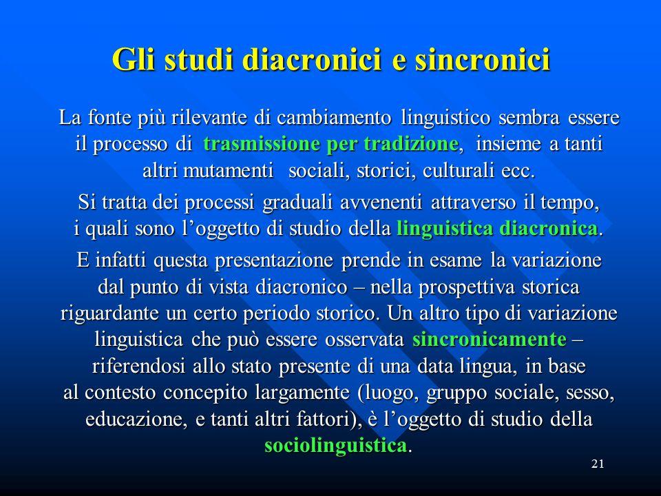 Gli studi diacronici e sincronici