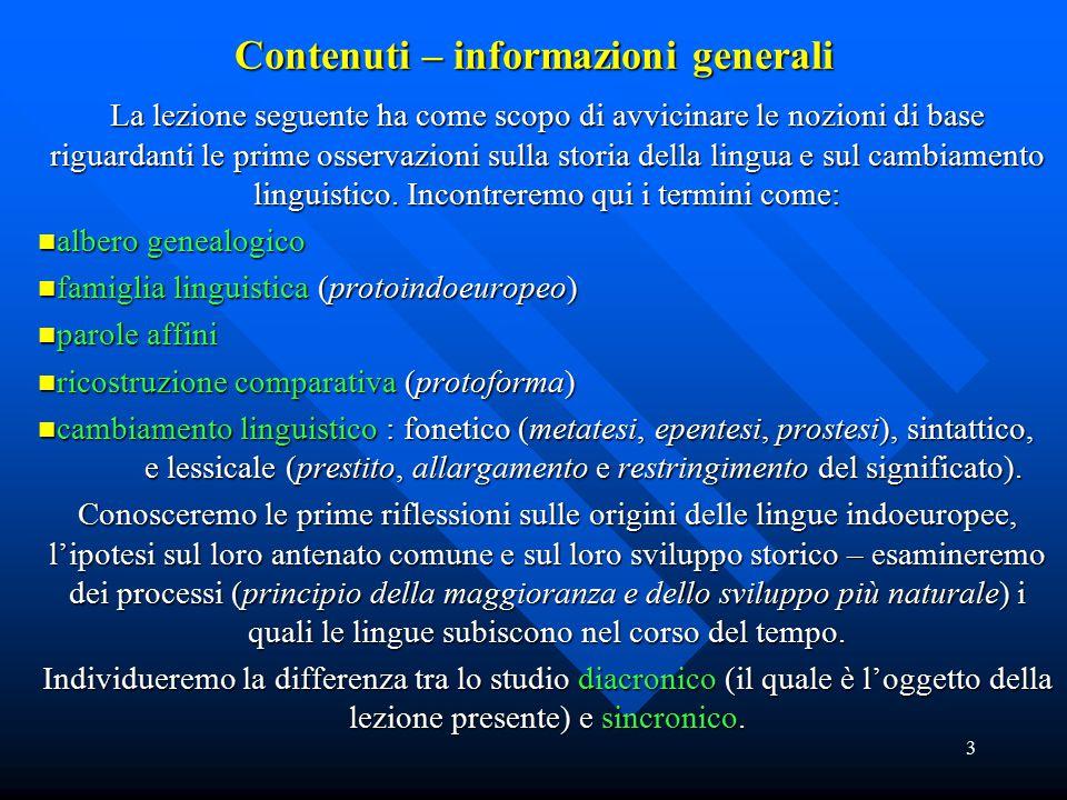 Contenuti – informazioni generali
