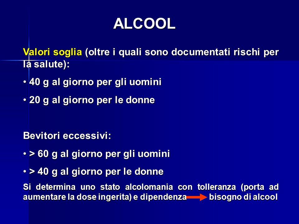 ALCOOL Valori soglia (oltre i quali sono documentati rischi per la salute): 40 g al giorno per gli uomini.