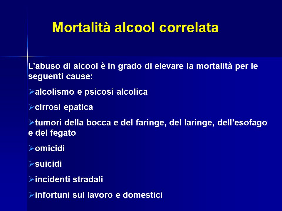 Mortalità alcool correlata