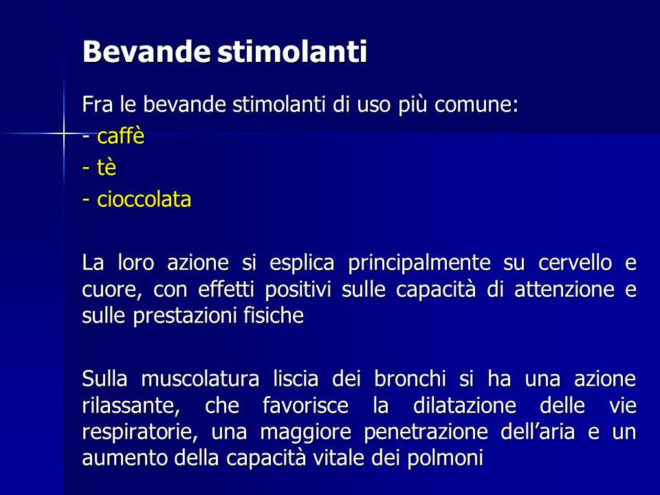 Bevande stimolanti Fra le bevande stimolanti di uso più comune: