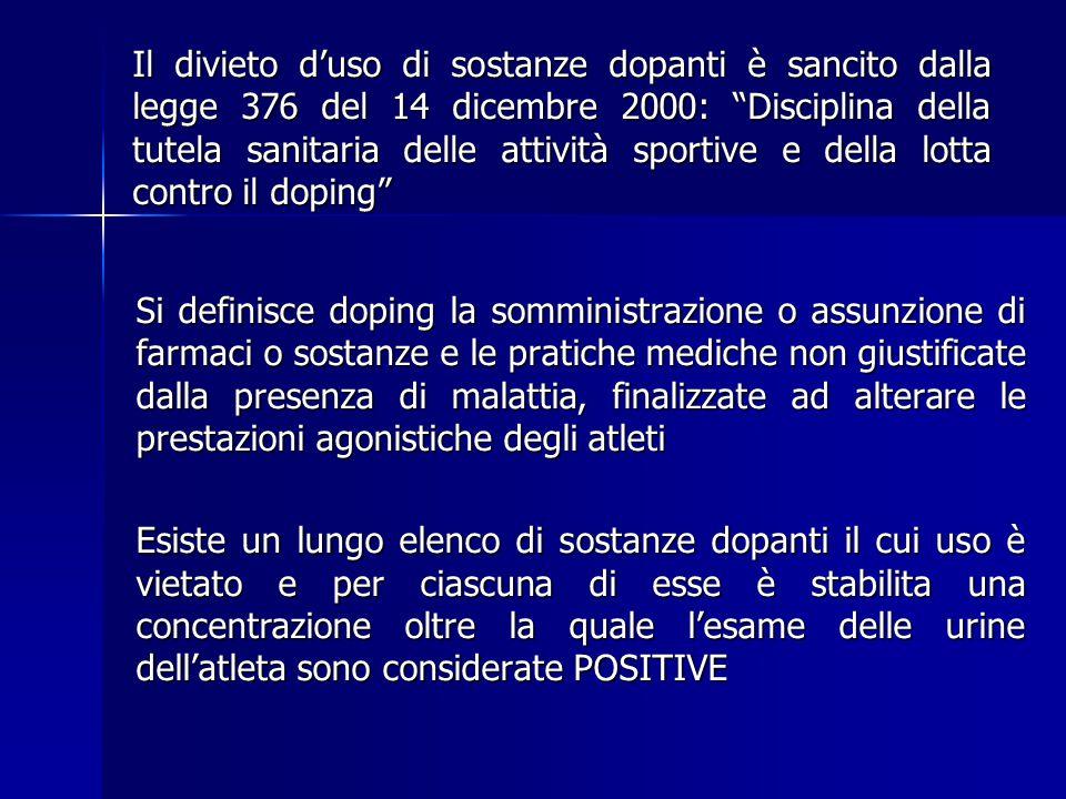 Il divieto d'uso di sostanze dopanti è sancito dalla legge 376 del 14 dicembre 2000: Disciplina della tutela sanitaria delle attività sportive e della lotta contro il doping
