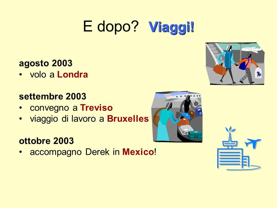 E dopo Viaggi! agosto 2003 volo a Londra settembre 2003
