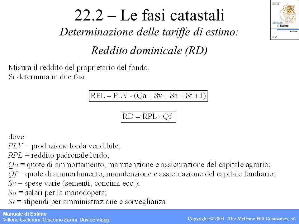 22.2 – Le fasi catastali Determinazione delle tariffe di estimo: Reddito dominicale (RD)