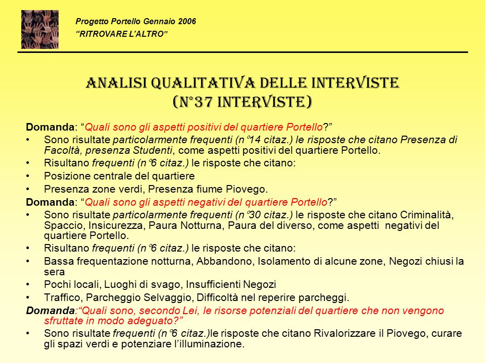 Analisi qualitativa delle interviste (N°37 Interviste)