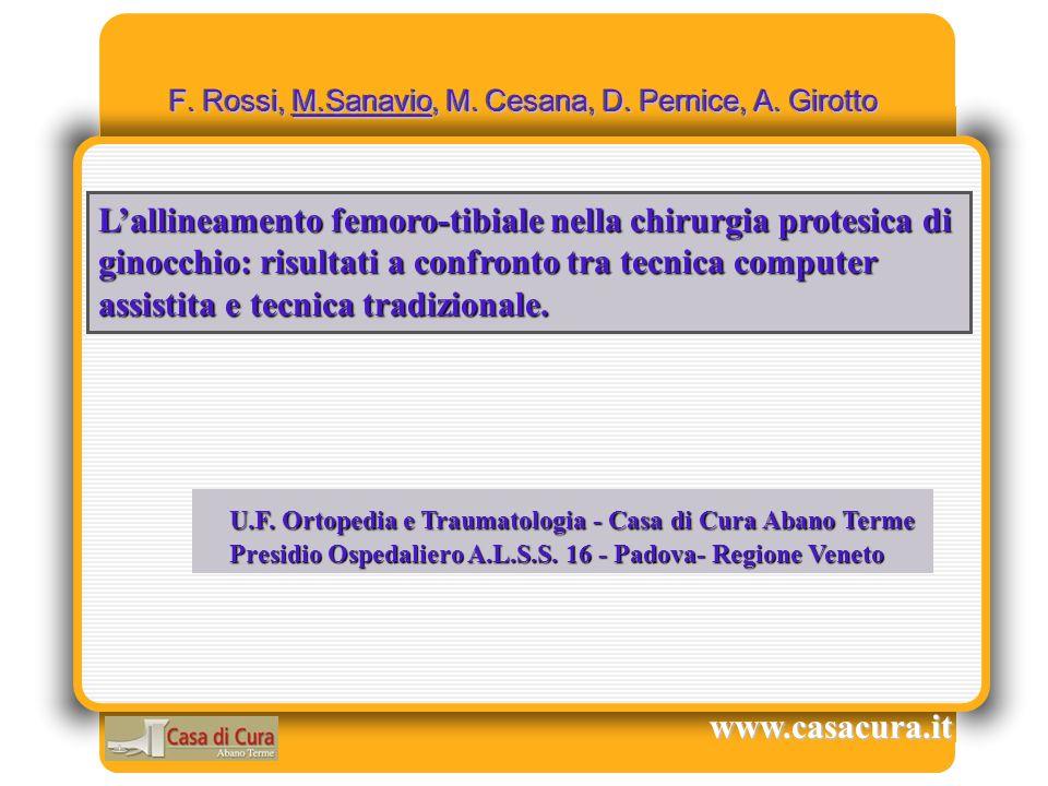 F. Rossi, M.Sanavio, M. Cesana, D. Pernice, A. Girotto