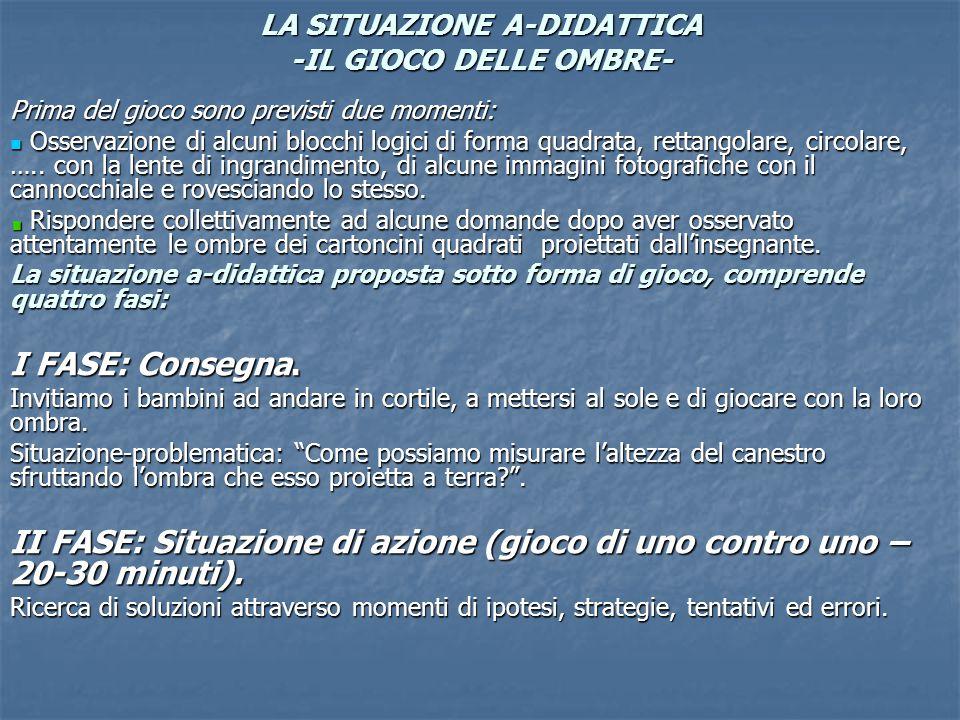 LA SITUAZIONE A-DIDATTICA -IL GIOCO DELLE OMBRE-