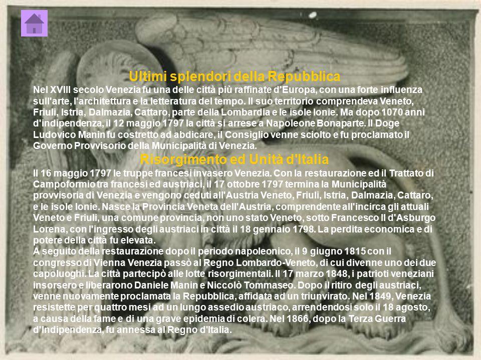 Ultimi splendori della Repubblica Risorgimento ed Unità d Italia