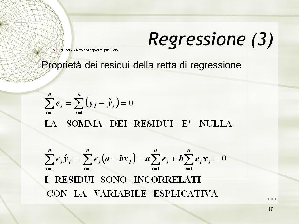 Regressione (3) Proprietà dei residui della retta di regressione …