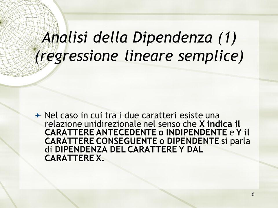 Analisi della Dipendenza (1) (regressione lineare semplice)
