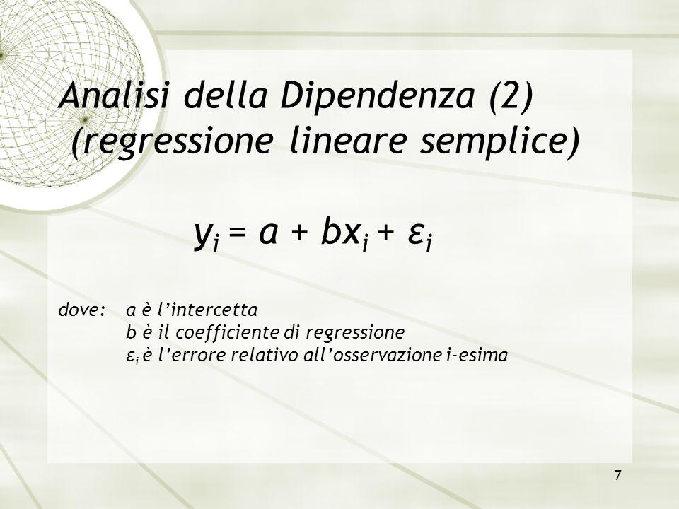 Analisi della Dipendenza (2) (regressione lineare semplice)