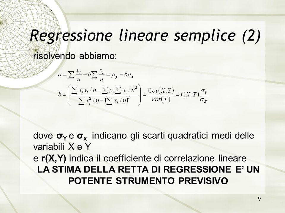 Regressione lineare semplice (2)