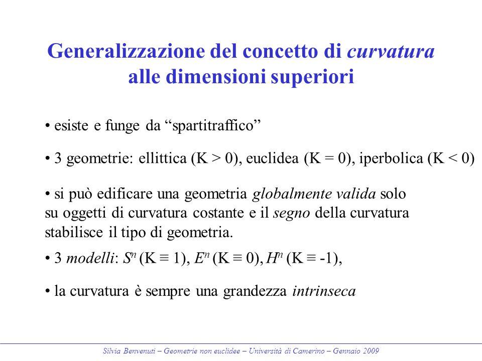 Generalizzazione del concetto di curvatura alle dimensioni superiori