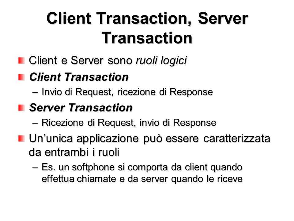 Client Transaction, Server Transaction
