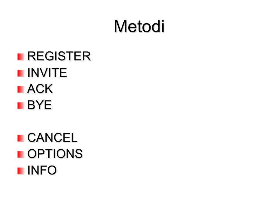 Metodi REGISTER INVITE ACK BYE CANCEL OPTIONS INFO