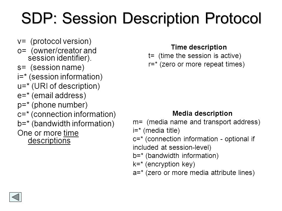 SDP: Session Description Protocol