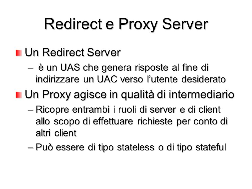 Redirect e Proxy Server
