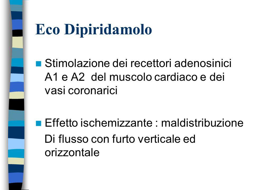 Eco Dipiridamolo Stimolazione dei recettori adenosinici A1 e A2 del muscolo cardiaco e dei vasi coronarici.
