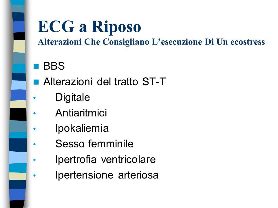 ECG a Riposo Alterazioni Che Consigliano L'esecuzione Di Un ecostress
