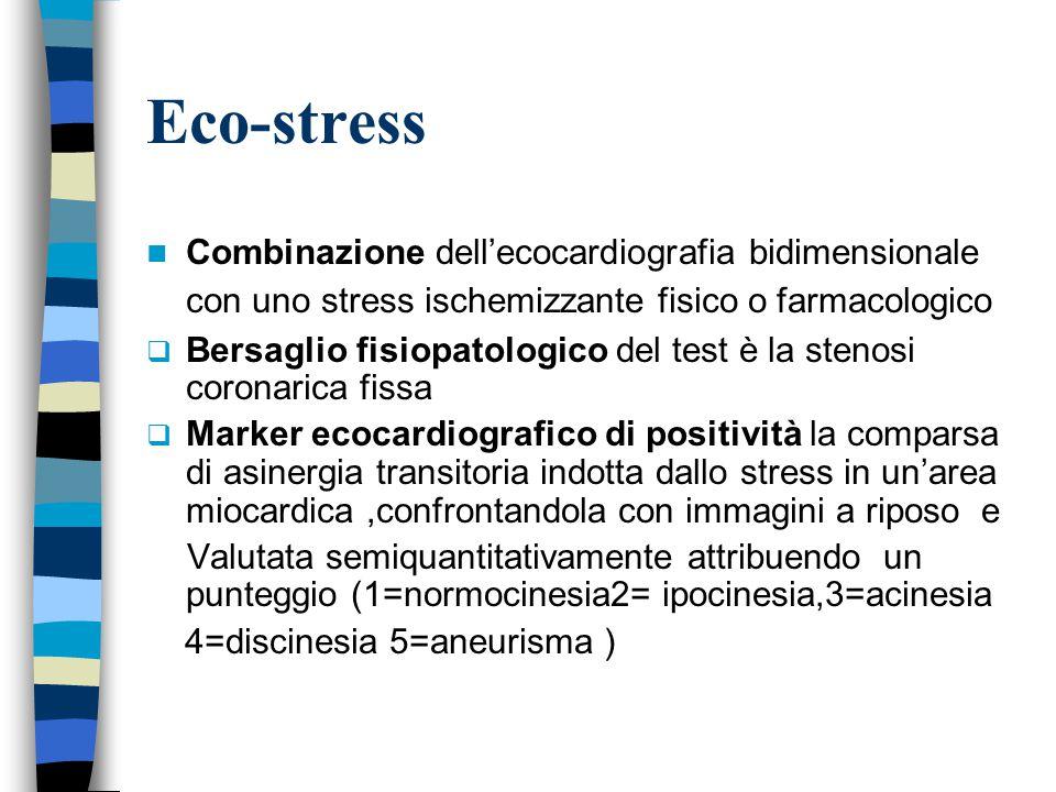Eco-stress Combinazione dell'ecocardiografia bidimensionale con uno stress ischemizzante fisico o farmacologico.