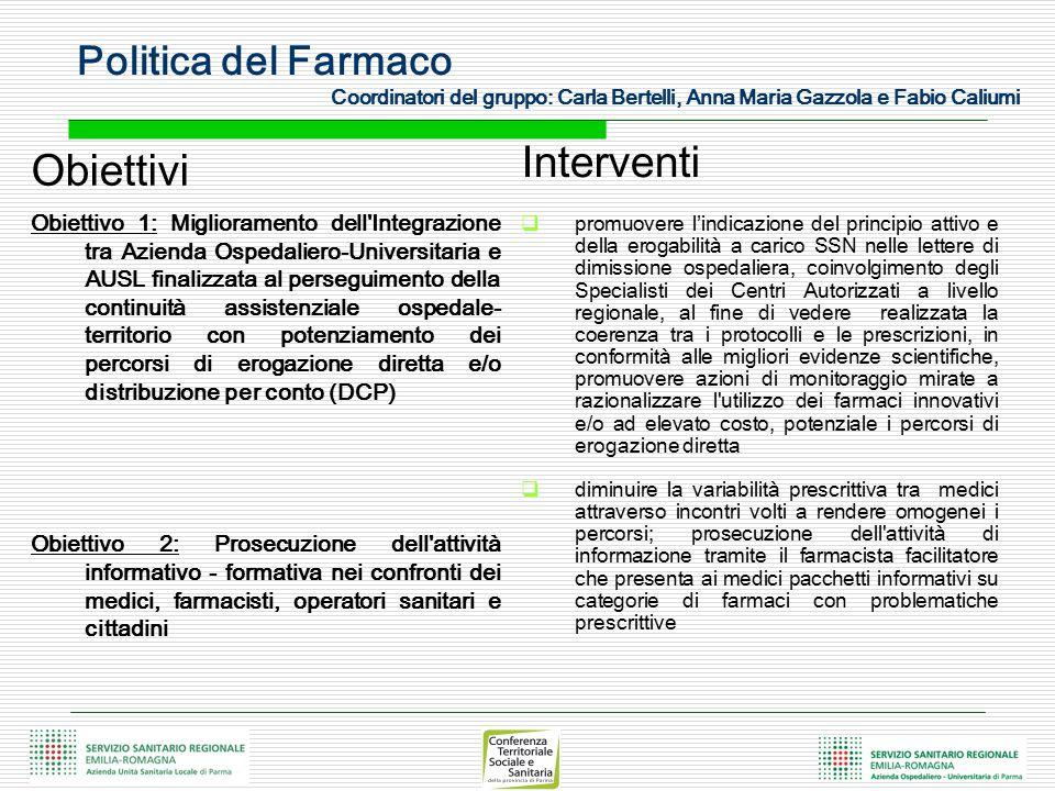 Politica del Farmaco Coordinatori del gruppo: Carla Bertelli, Anna Maria Gazzola e Fabio Caliumi