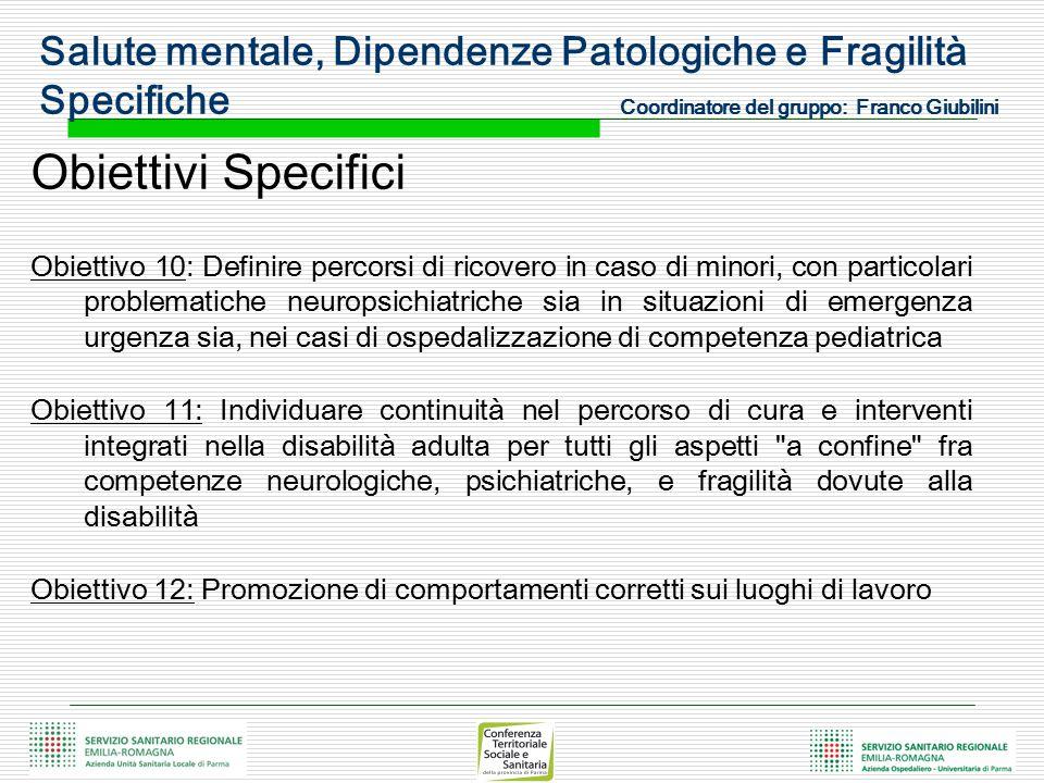 Salute mentale, Dipendenze Patologiche e Fragilità Specifiche Coordinatore del gruppo: Franco Giubilini