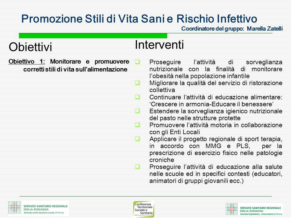 Promozione Stili di Vita Sani e Rischio Infettivo Coordinatore del gruppo: Marella Zatelli