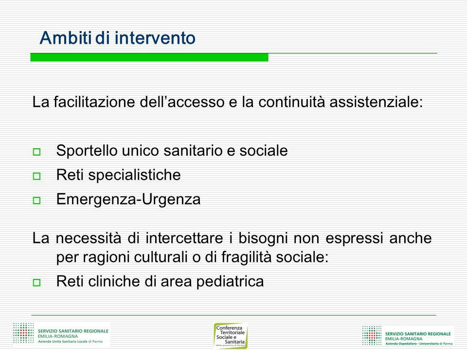 Ambiti di intervento La facilitazione dell'accesso e la continuità assistenziale: Sportello unico sanitario e sociale.