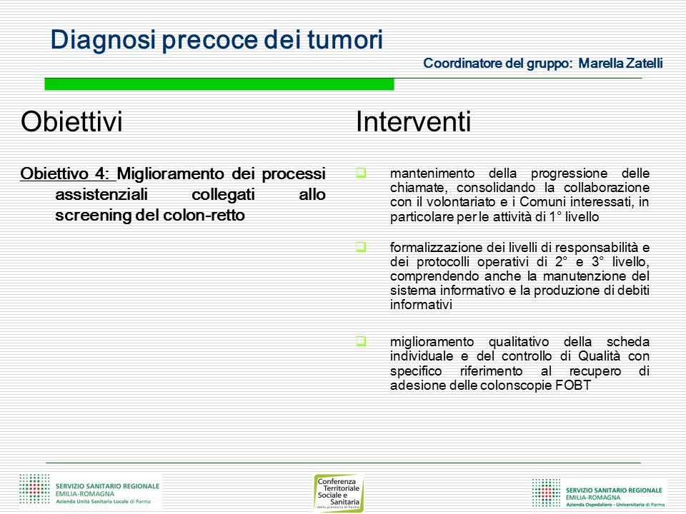 Diagnosi precoce dei tumori Coordinatore del gruppo: Marella Zatelli