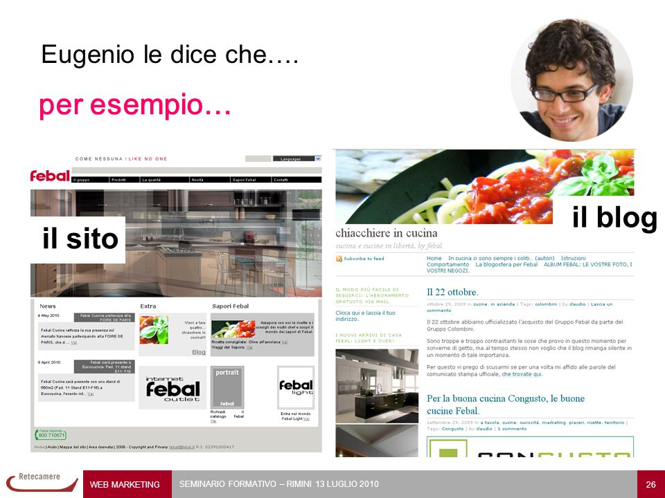 Eugenio le dice che…. per esempio… il blog il sito