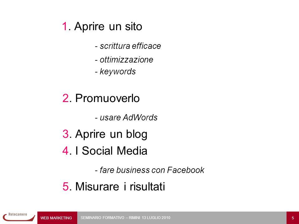 1. Aprire un sito - scrittura efficace - ottimizzazione - keywords 2.
